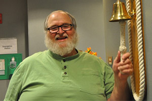 Before his weight-loss transformation, Richard rang the bell at his final radiation treatment for prostate cancer in January 2014.