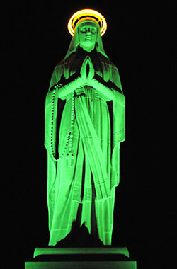 Our Lady of Lourdes statue lit green after an organ transplant