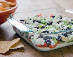 Healthy Eight-Layer Mediterranean Dip Recipe